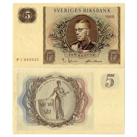 """1960 * Banconota Svezia 5 Kronor """"Gustaf VI Adolf"""" (p42e) FDS"""