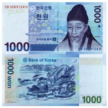 "2007 * Banconota Corea del Sud 1000 Won ""Yi Hwang"" (p54a) Mint Folder FDS"