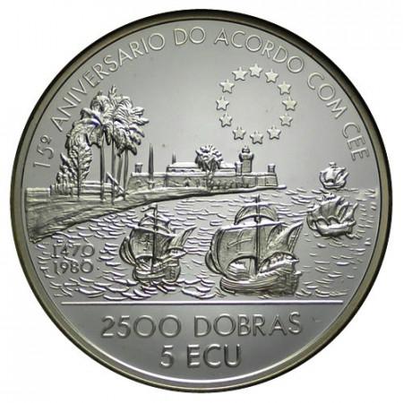 """1993 * 2500 Dobras - 5 Ecu Argento Sao Tomé e Príncipe """"Mercato Comune"""" (KM 68) PROOF"""