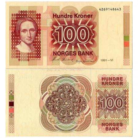 "1991 * Banconota Norvegia 100 Kroner ""Camilla Collett"" (p43d) FDS"