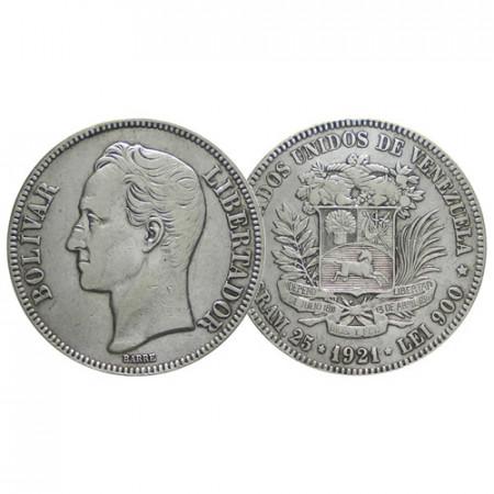"1921 * Gram 25 (5 Bolivares) Argento Venezuela ""Simón Bolívar"" (Y 24.2) BB+"