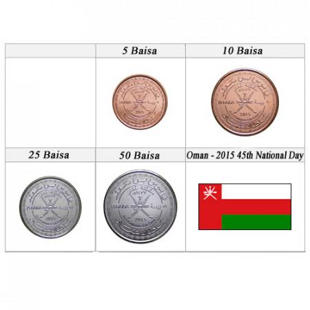 "2015 * Serie 4 Monete Oman ""Baisa - 45° National Day"" UNC"