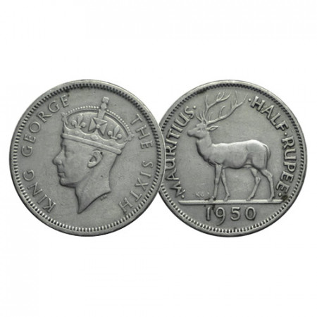 "1950 * Half 1/2 Rupee Mauritius ""Giorgio VI - Cervo Reale"" (KM 28) BB"