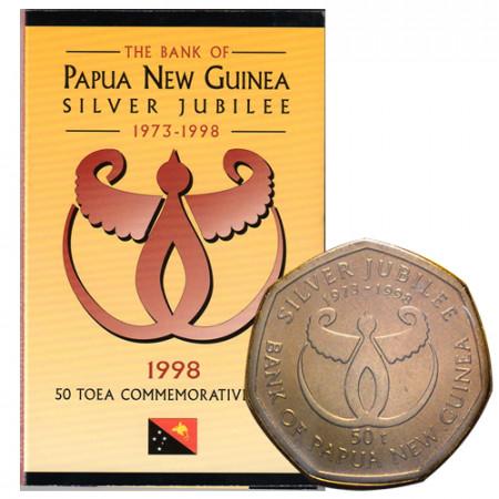 """1998 * 50 Toea Papua Nuova Guinea """"25° Banca di Papua Nuova Guinea"""" (KM 41) FDC"""