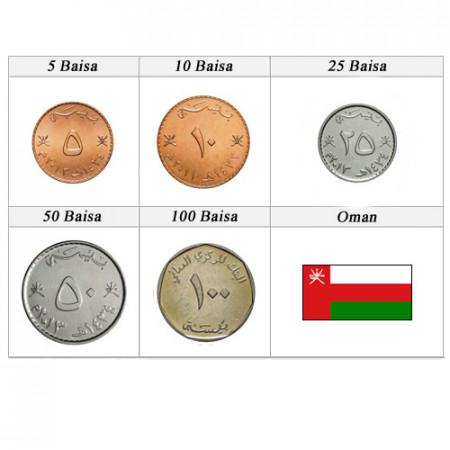 "Anni Misti * Serie 5 Monete Oman ""Baisa"" UNC"