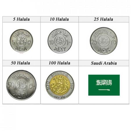 "Anni Misti * Serie 5 Monete Arabia Saudita ""Halala"" UNC"