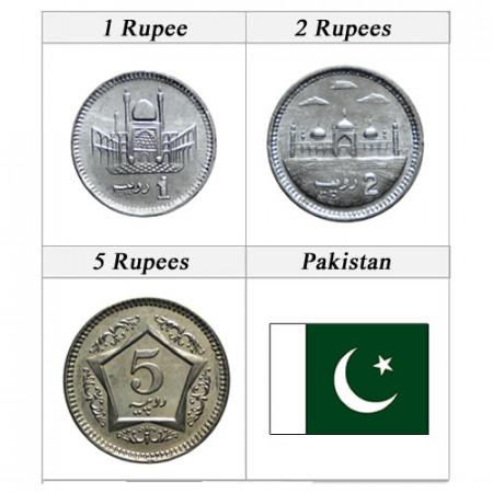 "Anni Misti * Serie 3 Monete Pakistan ""Rupees"" UNC"