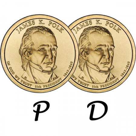 "2009 * 2 x 1 Dollaro Stati Uniti ""James K. Polk - 11th"" P+D"