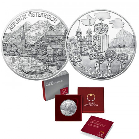 "2016 * 10 Euro Argento AUSTRIA ""Province Federali – Oberösterreich (Upper Austria)"" PROOF"