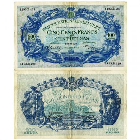 1942 * Banconota Belgio 500 Francs - 100 Belgas (p109) BB-