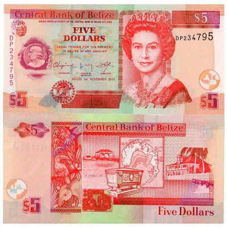 2011 * Banconota Belize 5 Dollari (p67e) FDS