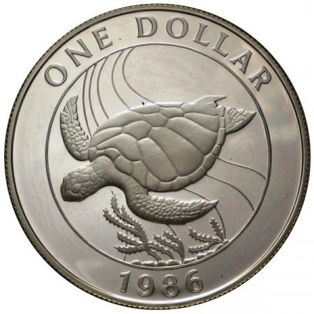 "1986 * 1 Dollar Argento Bermuda ""25° Fondazione WWF"" (KM 49a) PROOF"