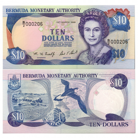 1996 * Banconota Bermuda 10 dollari FDS