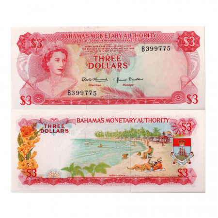 1968 * Banconota Bahamas 3 dollari FDS-