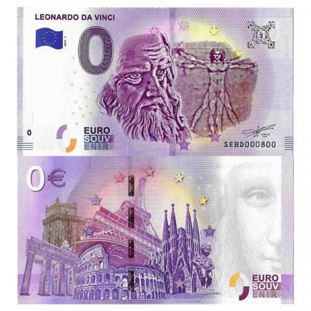 "2019-1 * Banconota Souvenir Italia Unione Europea 0 Euro ""Leonardo Da Vinci"" FDS"