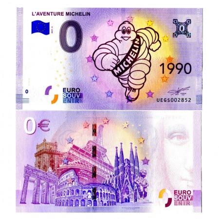 """2019-5 * Banconota Souvenir Francia Unione Europea 0 Euro """"L'Aventure Michelin 1990"""" FDS"""