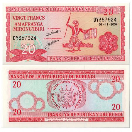 2007 * Banconota Burundi 20 Francs (p27d) FDS