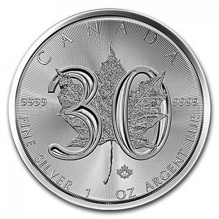 "2018 * 5 Dollari Argento 1 OZ Canada ""Foglia Acero - Maple Leaf - 30° Anniversario"" FDC"