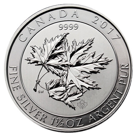 """2017 * 8 Dollari Argento 1,5 OZ Canada """"Multi Maple Leaf"""" FDC"""