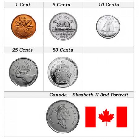"Anni Misti * Serie Set 5 Monete Canada ""Elizabeth II - 3rd Portrait"" FDC"