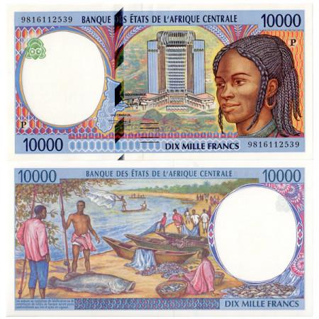 """1998 P * Banconota Stati Africa Centrale """"Ciad"""" 10000 franchi SPL"""