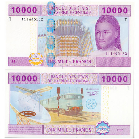 "2002 T * Banconota Stati Africa Centrale ""Congo"" 10000 franchi FDS"