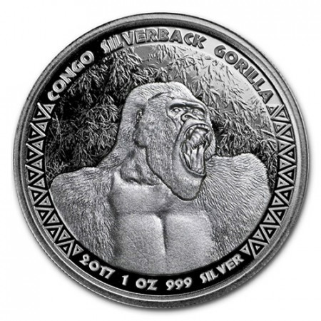 "2017 * 5000 Francs Argento 1 OZ Congo Repubblica ""Gorilla"" Prooflike"