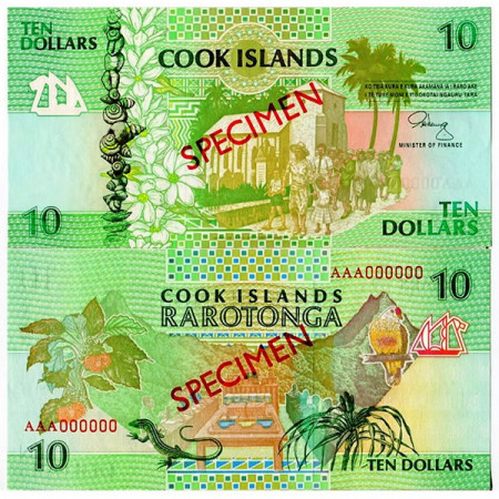 "ND (1992) * Banconota Cook Islands 10 Dollars ""Specimen"" (p8s) FDS"
