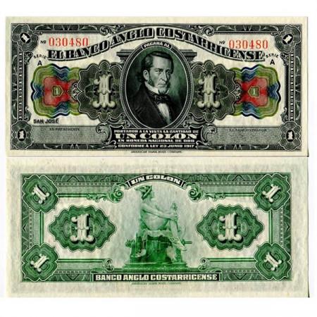 "1917 * Banconota Costa Rica 1 Colon ""Anglo-Costarricense"" (pS121) qFDS"