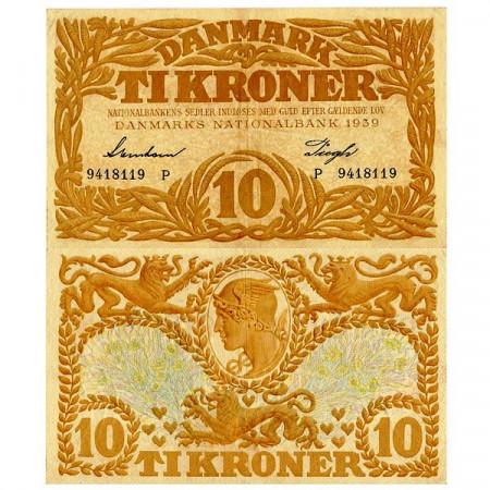 1939 * Banconota Danimarca 10 Kroner (p31g) BB