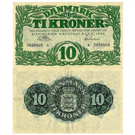 1948 * Banconota Danimarca 10 Kroner (p37f) BB