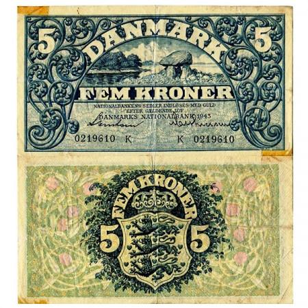 1943 * Banconota Danimarca 5 Kroner (p30k) MB