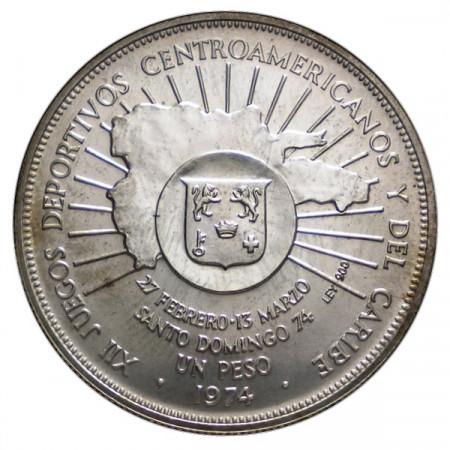 """1974 * 1 Peso Argento Repubblica Dominicana """"Central American and Caribbean Games"""" (KM 35) FDC"""