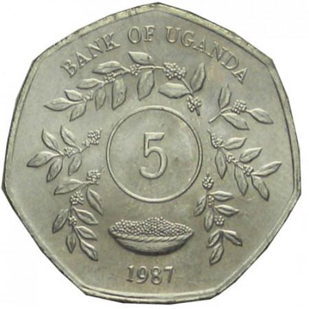"""1987 * 5 Shillings Uganda """"Stemma"""" (KM 29) SPL"""
