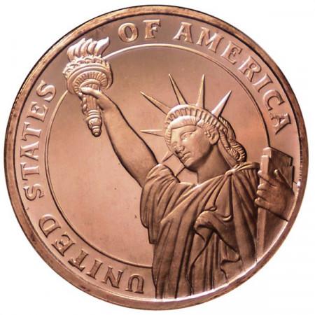 2014 * Copper round Stati Uniti Medaglia rame Statua Libertà
