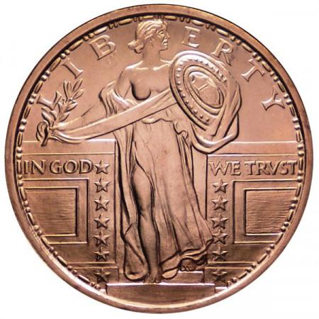 "2014 * Copper round Stati Uniti Medaglia in rame ""Standing Liberty"""