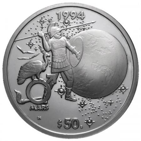 1994 * 50 Dollari d'argento 1 OZ Isole Marshall Marte