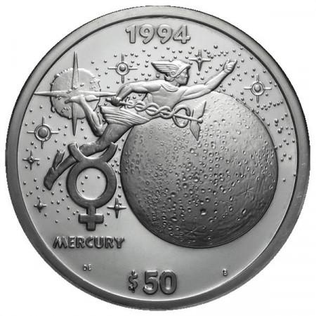 1994 * 50 Dollari d'argento 1 OZ Isole Marshall Mercurio