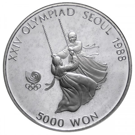1987 * 5000 Won argento Corea del Sud - Altalena proof