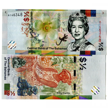 "2019 * Banconota Bahamas 50 Cents (1/2 Dollar) ""Elizabeth II - Sister Sarah"" (pNew) FDS"