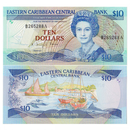 """ND (1985-93) * Banconota East Caribbean States """"Antigua"""" 10 Dollars (p23a2) FDS"""
