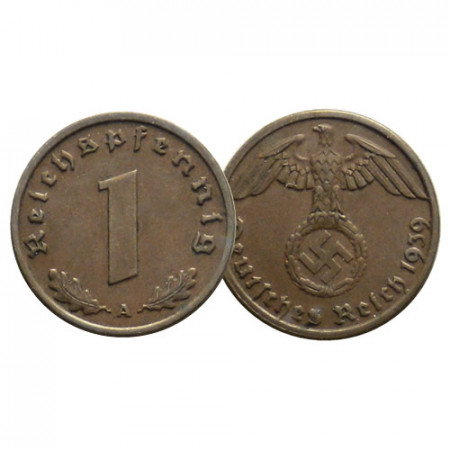 """1936-40 * 1 Reichspfennig GERMANIA """"Terzo Reich - Eagle on Swastika"""" (KM 89) MB/BB"""