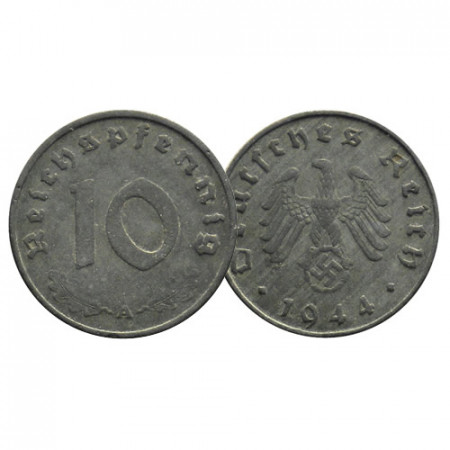 """1940-45 * 10 Reichspfennig GERMANIA """"Terzo Reich - Eagle on Swastika"""" (KM 101) MB/BB"""