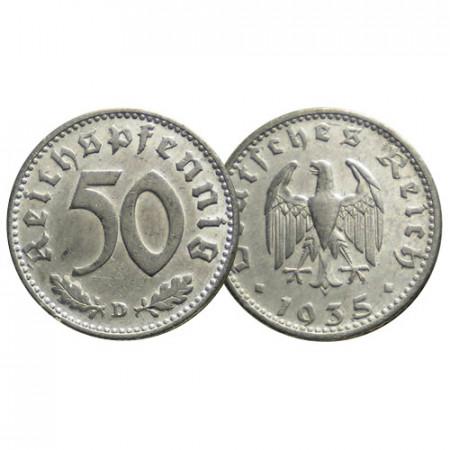 """1935 D * 50 Reichspfennig GERMANIA """"Terzo Reich - Eagle"""" (KM 87) BB"""