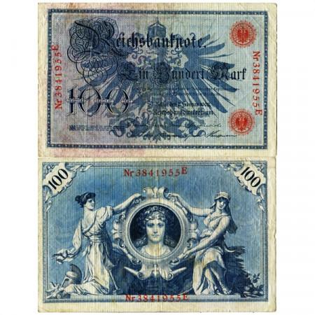 """1908 * Banconota Germania Impero 100 Mark """"Secondo Reich - Eagle"""" (p33a) qBB"""