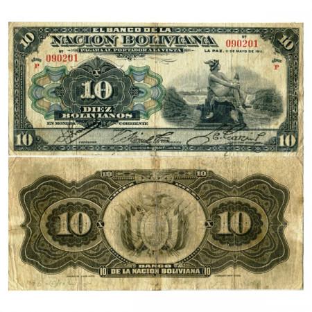 "1911 * Banconota Bolivia 10 Bolivianos ""Mercury"" (p107b) MB"