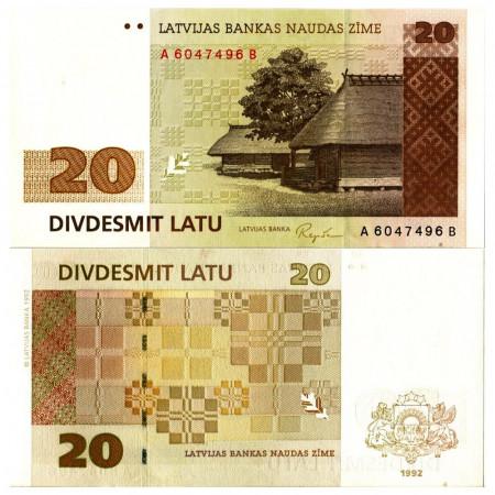 """1992 * Banconota Lettonia 20 Rublu """"Rural Homestead"""" (p45) FDS"""