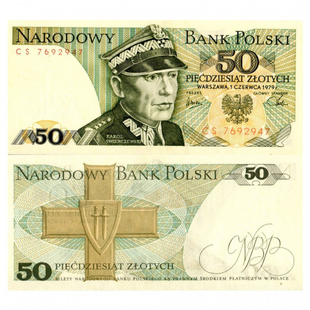 """1979 * Banconota Polonia 50 Zlotych """"K Swierczewski"""" (p142b) FDS"""