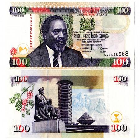 """2006 * Banconota Kenya 100 Shillings """"President Mzee Jomo Kenyatta"""" (p48b) FDS"""