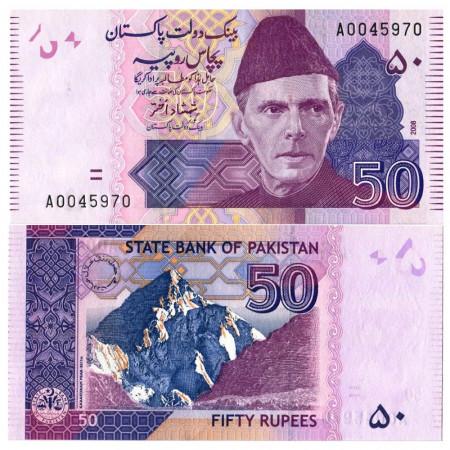 "2008 * Banconota Pakistan 50 Rupees ""Mohammed Ali Jinnah"" (p47b) FDS"